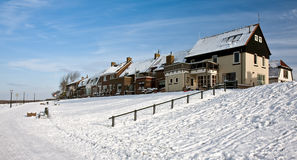 holenderskiego połowu stary nadbrzeża wioski wintertime Zdjęcia Stock