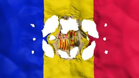 Holes in Andorra flag. White background, 3d rendering royalty free illustration