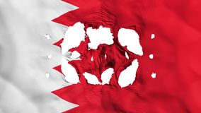Holes in Bahrain flag. White background, 3d rendering vector illustration
