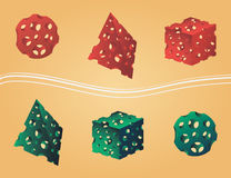 Holes in figures. Vector figures: pyramid cube sphere (different colors) with holes similar to cheese Stock Image