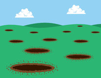 Holes in Grass Royalty Free Stock Images