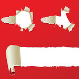 Holes In Red Paper Royalty Free Stock Photography