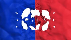 Holes in Paris city flag. Holes in Paris city, capital of France flag, white background, 3d rendering stock illustration