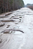 Holes and puddles on bad broken road in woods Stock Images