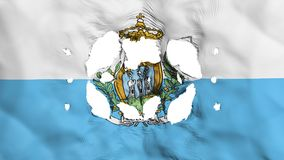 Holes in San Marino flag. White background, 3d rendering royalty free illustration