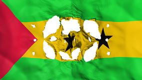 Holes in Sao Tome and Principe flag. White background, 3d rendering royalty free illustration
