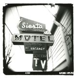 Holga_siesta-motel_sign Stockbilder
