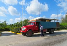 Open air buses use as transportation throughout the Cuban countryside for the local people stock photography