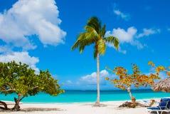 Holguin, Cuba, Playa Esmeralda. Beautiful Caribbean sea turquoise blue color and palm trees on the beach. Holguin, Cuba, Playa Esmeralda. Beautiful Caribbean stock images