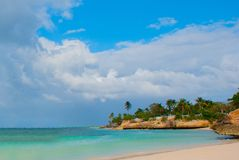 Holguin, Guardalavaca Beach, Cuba: Caribbean sea with beautiful blue-turquoise water and gentle sand and palm trees. Paradise land. Scape stock image