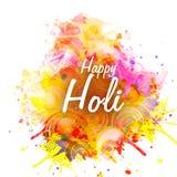 Holi与五颜六色的飞溅的节日庆祝 库存图片