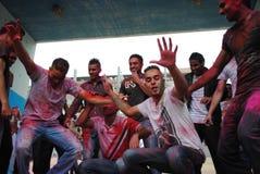 Holi党在巴塞罗那 图库摄影