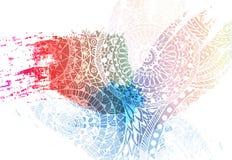 Holi节日事件的模板设计 颜色的背景心脏 色的粉末传染媒介 库存图片
