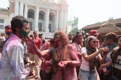Holi节日在尼泊尔 库存照片