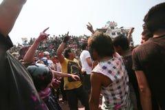 Holi节日在尼泊尔 免版税库存图片