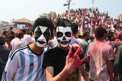 Holi节日在尼泊尔 图库摄影