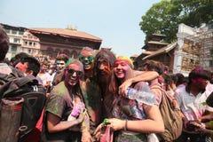 Holi节日在尼泊尔 免版税图库摄影