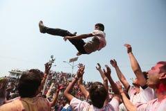 Holi节日在尼泊尔 库存图片