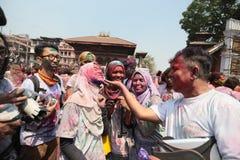 Holi节日在尼泊尔 免版税库存照片