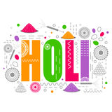 Holi节日庆祝的五颜六色的文本 免版税库存图片