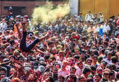 Holi节日2013年,加德满都,尼泊尔 免版税库存照片