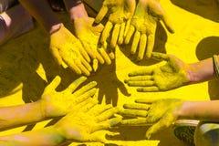 Holi покрасило руки Стоковое фото RF