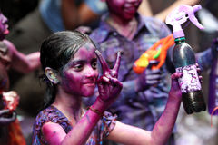 Holi av den Hindus festivalen Arkivbilder