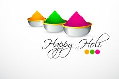 Holi Background. Illustration of bowl full of colorful gulal for holi background Royalty Free Stock Photography