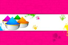Holi Background. Illustration of bowl full of colorful gulal for holi background Stock Image