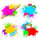 Holi Background. Illustration of set of Holi splash with pichkari and gulal Stock Image