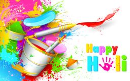 Holi Background with bucket of color Royalty Free Stock Image