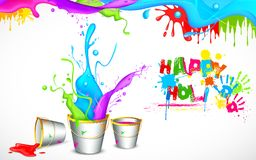 Holi Background with Bucket of color Stock Photo