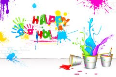 Holi Background with Bucket of color Royalty Free Stock Photography