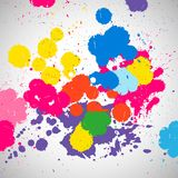 Holi background of color paint splashes, abstract colorful. Splash paint blots. Bright spots and blobs for holiday design poster, card, banner, etc Stock Image