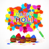 Holi background with color splashes, pichkari and pots. Vector illustration. Indian festival happy holi greeting card with color splashes, pichkari,pots. Vector vector illustration