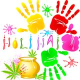 Holi Background with colorful handprint Royalty Free Stock Images