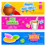 Holi banner for sale and promotion Royalty Free Stock Photography