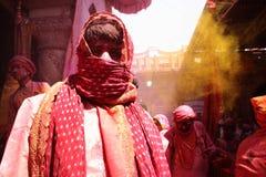 Holi beröm på Barsana Fotografering för Bildbyråer