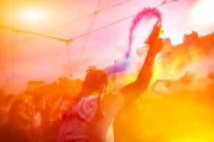 Holi celebração 9 de setembro de 2017 Moldova Chisinau Darwin Color imagem de stock royalty free