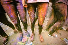 Holi celebração 9 de setembro de 2017 Moldova Chisinau Darwin Color Fest fotografia de stock