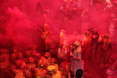 Holi Celebration at Barsana stock photo