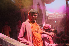 Holi Celebration at Barsana Royalty Free Stock Photo
