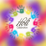 Holi celebration with colourful hand prints. Royalty Free Stock Image