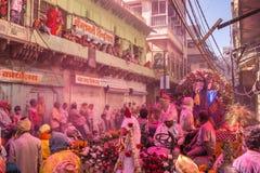 Holi celebration, Vrindavan and Mathura, India. Mathura, India. March 23, 2016. Colourful Holi procession on the streets of Mathura, Uttar Pradesh, India royalty free stock images