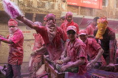 Holi celebration, Vrindavan and Mathura, India. Mathura, India. March 23, 2016. Colourful Holi procession on the streets of Mathura, Uttar Pradesh, India royalty free stock photography