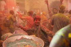 Holi celebration, Vrindavan and Mathura, India. Vrindavan, India - March 21, 2016: Holi celebration at Gopinath Temple in Vrindavan, Uttar Pradesh, India Stock Image