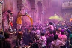 Holi celebration, Vrindavan and Mathura, India. Vrindavan, India. March 20, 2016. Holi celebration in the Hindu Banke Bihare temple in Vrindavan, Uttar Pradesh Stock Photo