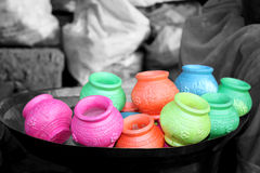 Holi Clay Pots Royalty Free Stock Images