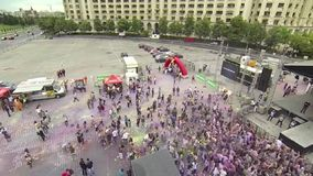 Holi Color festival 2 - aerial video stock video footage
