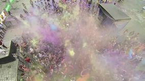 Holi Color festival 3 - aerial video stock footage